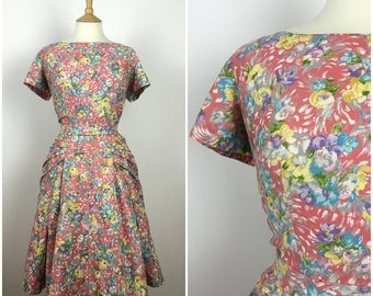 Vintage 1940s Dress - 40s Floral Dress - 40s Summer Dress - 40s Party Dress - Full Skirt - Medium - UK 12-14 / US 8-10 / EU 40-42 -