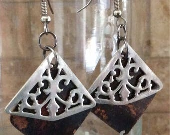 BEAUTIFUL - Metal Earrings, Damask Earrings, Mixed Metal Earrings, Repurposed Earrings, Unique Jewelry, Canadian Jewelry, Silver and Copper