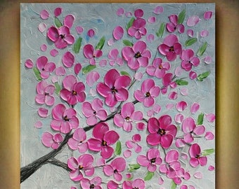 SALE Original Pink Flowers Heavy  Impasto Acrylic Palette  Knife  painting. Size 24x 24. Made2Order.