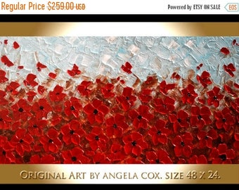 SALE Original Modern Red Poppies Flowers   Contemporary  Impasto Palette Knife  Landscape   Painting.. Size 48 x 24.