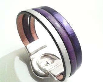 Matte purple and violet metal silver leather bracelet with silver belt magnetic clasp
