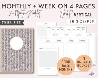 B6 Monthly-Weekly on 4 Pages Vertical Unlined Printable Booklet Insert - Good for 2 Months