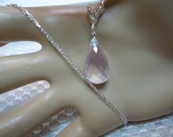 Briolette Cut Rose Quartz Necklace in Sterling Silver  #2105