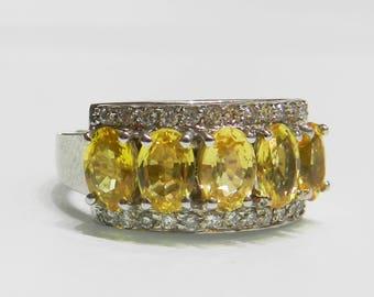 Sapphire Ring 18K Sapphire Engagement Ring 2.40 Ct White Gold Ring Diamond Yellow Sapphire Anniversary Ring Wedding Ring 18K
