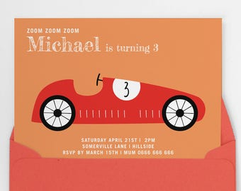 Boys party invite, Printable party invitation, boys first birthday party invitation, boys birthday invite, racing car invitation