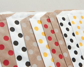 Assorted packing bags dots 12.6cm x 18.7cm made in USA (set of 10)