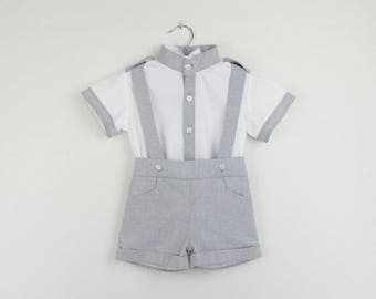 Boys outfit - Boys mao white cotton Long sleeve mao collar shirt with gray details and gray shorts - Also available with beige details