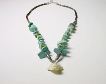 Turquoise Sterling Silver Beads Necklace with Mother of Pearl Bullhead - Bull Head with Red Eyes - Unique # 161