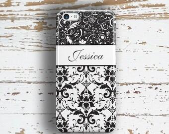 Monogram Iphone 6 Plus case, Damask iPhone 5s case, Pretty iPhone 5c case Womens Iphone 6s case Fashion accessory Black white damask (9733)