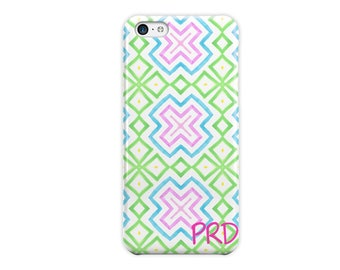 Geometric iPhone case, Hot pink lime green sky blue Monogrammed gifts for her For 4/4s 5/5s 6/6s 7 8 5c SE and Plus phone covers (1781)