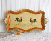 Vintage Rooster Tray, Pressed Paper Tray, Orange and Yellow Tray, Country Kitchen Tray, Small Serving Tray, Farmhouse Rooster Tray