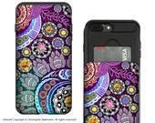 Purple Paisley iPhone 7 Plus - 8 Plus Card Holder Case with Artwork - Mehndi Garden - Credit Card iPhone 8 Plus Wallet Case