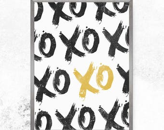 Typography print, Xo print, XOXO, Love print, Minimalist print, Modern art print, Farmhouse, Wall sign, Typography art, Home decor