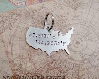 USA Key Chain with GPS Coordinates and hearts or Stars-  Handmade - customized