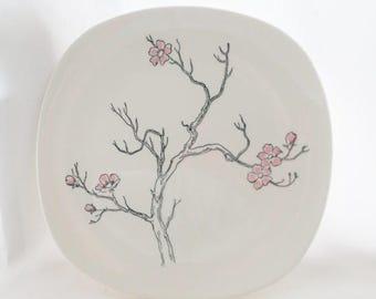 ON SALE 1950's, Vintage, Dinner Plate, Knowles, Rose Tree, K 1011, Pink, Black, Asian, Flowers, Set of 4, Serving,  Square, Dogwood Branch,