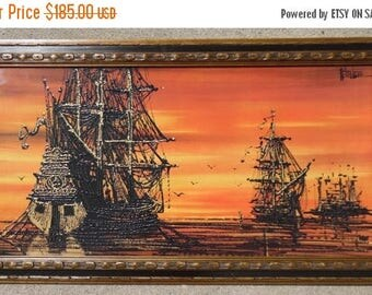 """ON SALE Vintage 1960's Turner Wall Accessory Nautical Pirate Themed Print """"Galleons"""" Orange Mid-Century, Spanish Revival, Faux Drip Art Pain"""