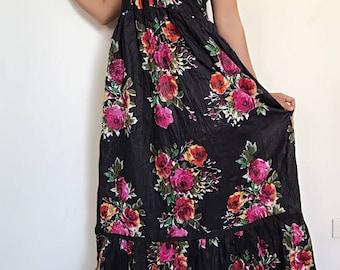 Sweet Rose....Black  Maxi Beautiful  cotton Dress/Summer Dress/Party Dress