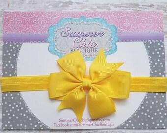 Yellow Baby Headband, Bow Headband, Infant Headband, Newborn Headband - Yellow Pinwheel Bow Headband, Headband, Yellow Bow
