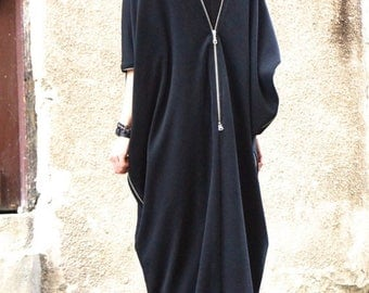 SALE NEW SPRING Collection  Black  Kaftan / Maxi Black French Terry  Cotton Dress / Asymmetrical Zipper Caftan Dress by Aakasha_A03163