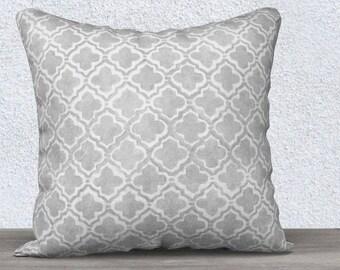 Gray Accent Pillow, Moroccan Pattern Pillow, Gray Throw Pillow, Gray Pillow Cover, Gray Nursery, Gray Lumbar Pillow, 14x20, Gray Pillowcase