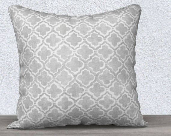 Gray Accent Pillow Case with Moroccan Pattern