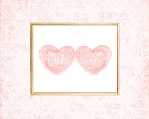 Twins Baby Decor in Blush, 11x14, Personalized Print