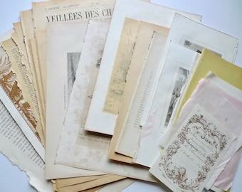 French Vintage Paper Bundle, French Ephemera, 1900s Illustrations, Antique Book Pages, Collage, Scrapbooking, DIY Crafts, Paper Art