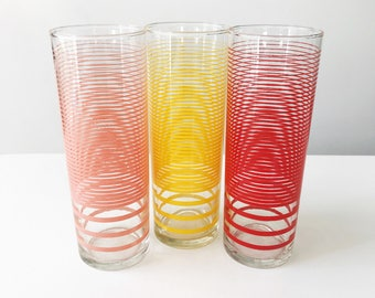 Set of 3 Vintage 1950s Glasses or Tumblers in Pink, Red & Yellow Stripes