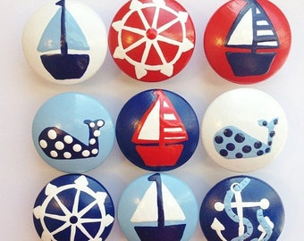 Huge Summer Sale CLEARANCE - Adorable Nautical Hand Painted Drawer Knobs Navy Knob with Red Sail Boat great for dresser drawers for boys chi