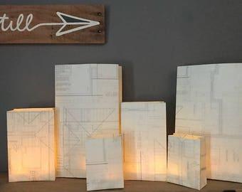 Blueprint Luminary Bags, Architect, Blueprint Luminaries, Contractor, Housewarming, Blueprint Decor, Architect Graduation, Architect Party