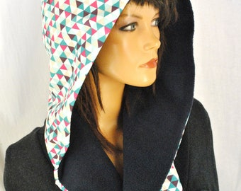 Lined fleece hood scarf zipped