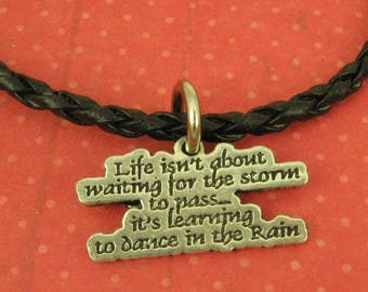 Gift for Her, Wife, Grandmother,  Friend, Mom, Sterling Silver Inspirational Charm, Dance In the Rain