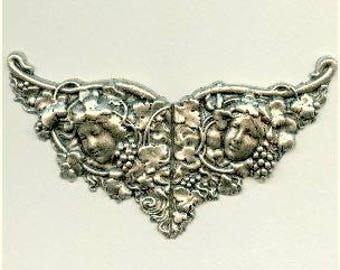 Art Nouveau Vineyard Nymphs - Ox Sterling Silver Plated Brass  Stamping,Quite Large, 120x55mm, Spectacular Piece