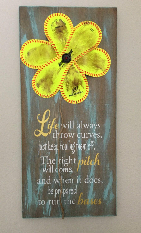 Wedding Gift Life Will Always Throw Curves Baseballsoftball Sign