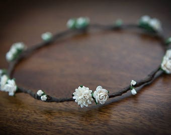 Ivory Flower Crown : Aster, Rose and Rosebuds ... FESTIVALS, WEDDINGS, BRIDESMAIDS
