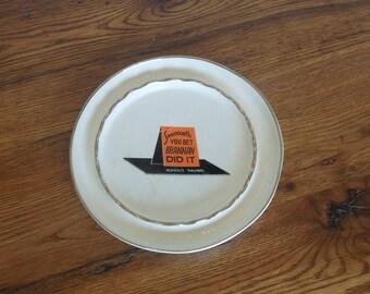 "Vintage 1950's Advertising Ceramic Ashtray Asphalt Paving Company 8.5"" D"