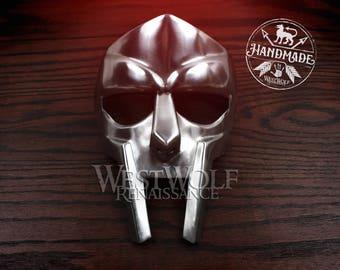 Gladiator Face Mask - Made of Polished Steel - Handmade -- helmet/roman/forged/armor/rapper/mf doom