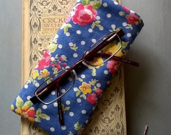 Denim Blue Floral Linen Soft Specs Case or Glasses Case