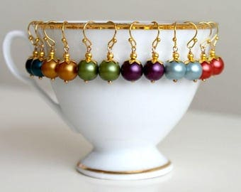 Little colorful dangle earrings, petite gold earrings, simple everyday jewelry