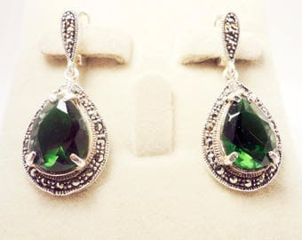 925 Sterling Silver earrings with marcasite and chrysolite  stones hand made Chandelier Earrings Armenia Armenian