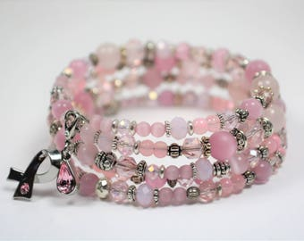 Pink Ribbon Bracelet Swarovski Crystal Pink Cats Eye Beads Breast Cancer Awareness Survivor Memory Wire Wrap Jewelry Gifts for Her BJGB81