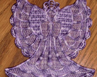 Embroidered Ornament - Christmas - Varigated Purples -  Angel