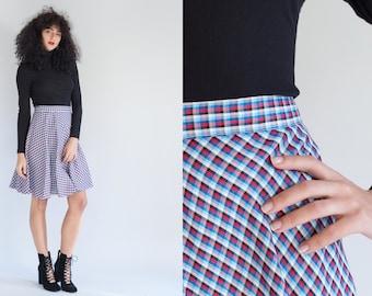 1960s Plaid Skirt - Vintage 60s Blue Red White Black Skirt - Dionne Skirt