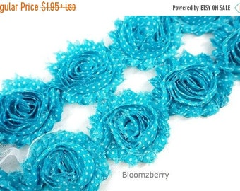 "Summer SALE 10% OFF 2.5"" PRINTED Shabby Rose Trim- Turquoise Polka Dots -Blue Turqupise Shabby Rose Trim - Printed Shabby Trim -Hair Accesso"