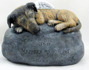 Ceramic Engraved Bottom Loading Cremation Urn with sculpted ears and snout - hand made pet urn