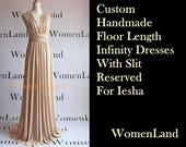 WomenLand : Reserved For Iesha ~ Beige/Champagne Custom Handmade Infinity Wrap Floor Length Dress with SLIT Wedding Bridal Party Bridesmaids
