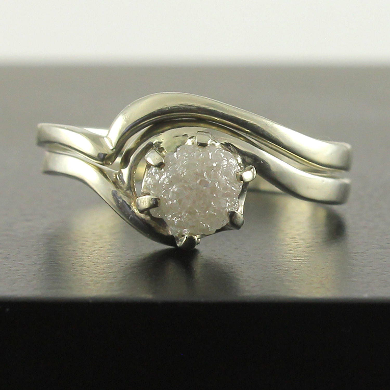 1 Carat Rough Diamond Ring Set 14K Gold Engagement Ring Set