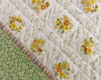Sweet Vintage Floral Whole Cloth Quilt