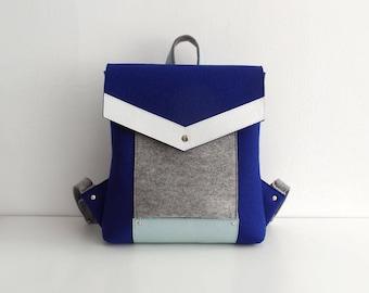 Gray White Navy Blue Wool Felt Genuine Leather Backpack