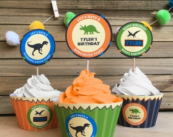 Dinosaur Birthday Party, INSTANT DOWNLOAD, Self Editable Cupcake Toppers, Party Circles, Favor Tags, Party Printable, Digital Pdf File